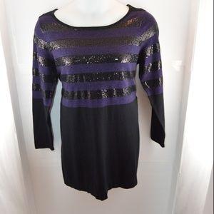 Alfani Purple & Black Sequin Striped Sweater Dress